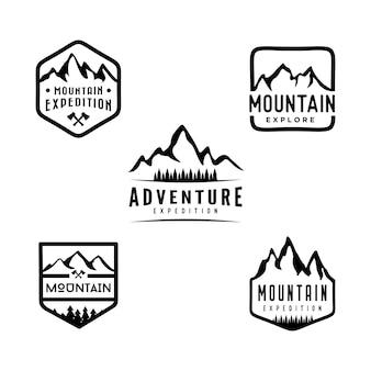山と屋外の冒険ロゴデザインセット。白い背景に隔離されて