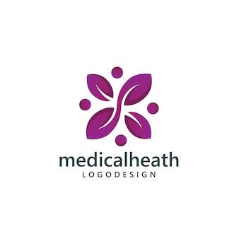 健康ロゴのコンセプトの人々と葉の創造的な概念
