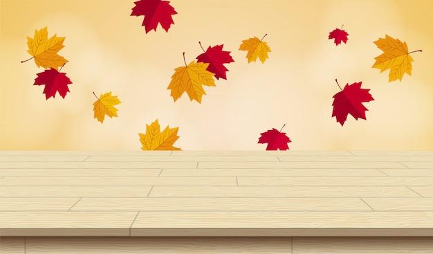 秋のベクトル図の現実的な木製のピクニック用のテーブル。