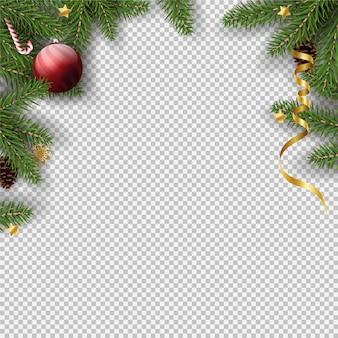 クリスマスの透明なフレームの背景