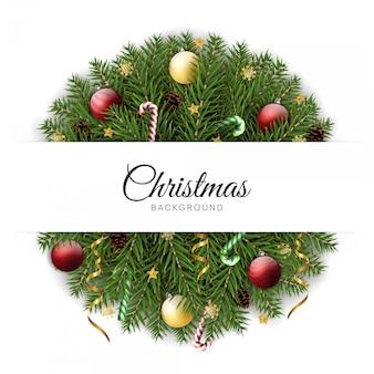 現実的なクリスマスの花輪の背景