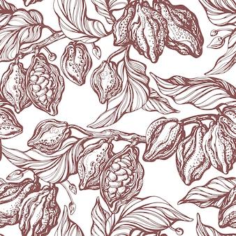 カカオのシームレスなパターン。手描きの植物の枝、豆、トロピカルフルーツ、葉。ナチュラルチョコレート。有機甘い食べ物。白い背景のグラフィックアートのレトロなスケッチ。アンティーク壁紙