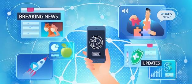 オンライン速報ニュースのコンセプト。世界中のニュースやウェブページ画面の毎日の更新を見るために使用するスマートフォンを持っている男性の手。スマホ使いやすさのフラットデザイン。図。