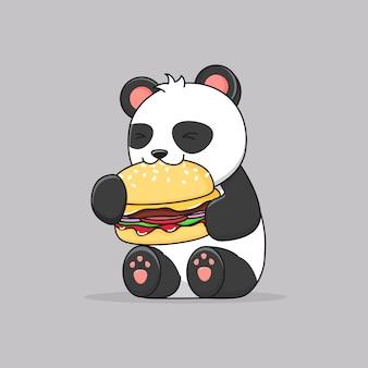 Милая панда ест гамбургер