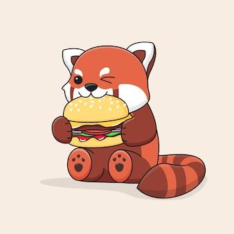 Милая красная панда ест гамбургер