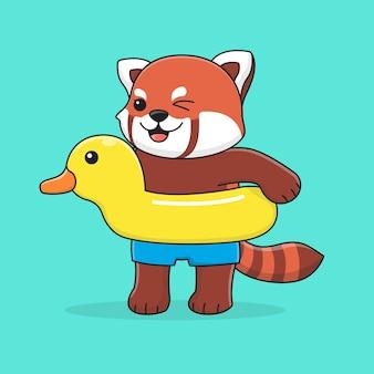 水泳リングアヒルとかわいいレッサーパンダ