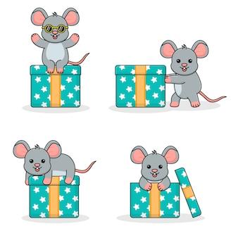 Симпатичная мышка с подарочной коробкой