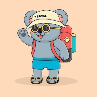 かわいいトレンディなコアラ旅行者