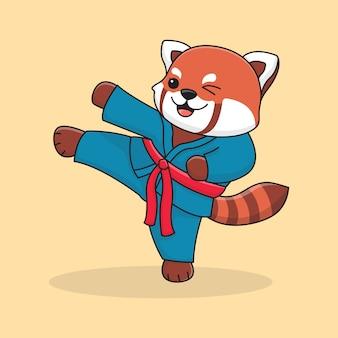 かわいいレッサーパンダを蹴る