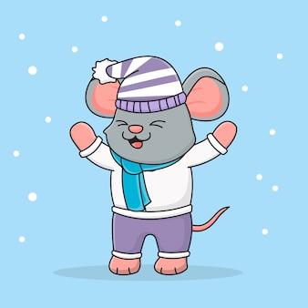 Симпатичная зимняя мышка