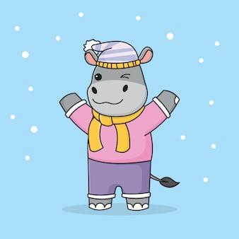 Милый зимний бегемот в шапке и шарфе