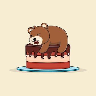 チョコレートケーキの上にかわいいクマさん