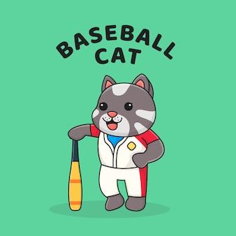 Милый кот держит бейсбольную клюшку
