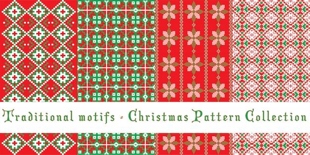 クリスマスのパターンセット - 伝統的なモチーフ