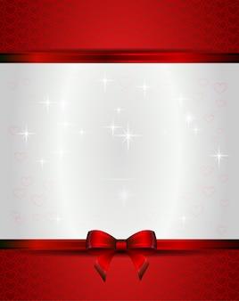 Красная рождественская открытка с лентами