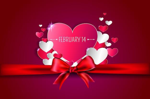 Красное сердце с лентой и бантом на день святого валентина