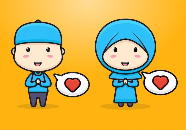かわいいイスラム教徒のちびキャラクターの挨拶