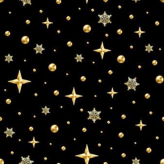 ゴールドビーズ、星、黒の雪片のシームレスパターン