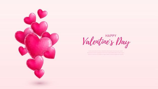美しい幸せなバレンタインデーの壁紙。ピンクのクリスタルフライングハートとパステルピンクの背景上のテキスト。低ポリスタイルの愛のシンボル。はがき、チラシ、招待状、ポスター、バナーのイラスト