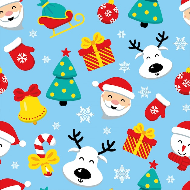 クリスマスのアイコンの青いシームレスパターン