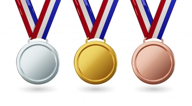 Золотая медаль с лентой, набор изолированных наград в реалистическом дизайне. символ победы и спортивных достижений. концепция празднования и церемонии.