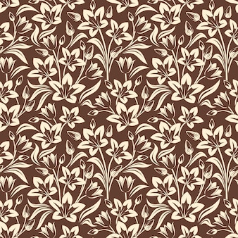 Вектор бесшовный образец с бежевым цветочным узором на коричневом цвете.