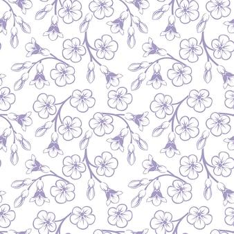花とつぼみのシームレスなパターンベクトル