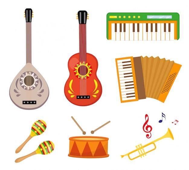 Музыкальные инструменты значок набор плоских мультяшном стиле. коллекция с гитарой, бузуком, барабаном, трубой, синтезатором. иллюстрация
