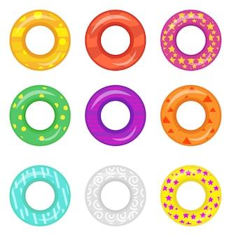 Значок спасательный круг установлен. кольца для плавания коллекции. мультяшный стиль, на белом фоне. иллюстрации.