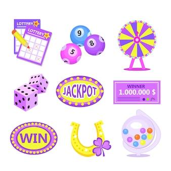 ビンゴ宝くじのアイコンを設定します。宝くじは、馬蹄形の宝くじ、宝くじのドラム、チケット、運命の輪、チェックを獲得します。モダンなイラスト