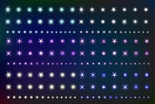 輝く光の効果の星を設定します。様々な輝くフォルムのコレクションがスパーク。キットのきらびやかな要素。図
