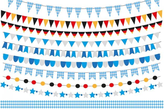 Октоберфест набор флагов, овсянка, гирлянда. октябрьский фестиваль в германии. коллекция элементов. на белом фоне иллюстрации.