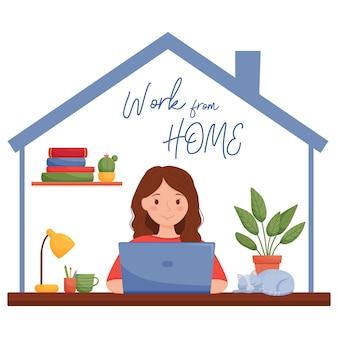 家のデザインコンセプトから作業します。彼女の家でラップトップに取り組んでいる女の子。