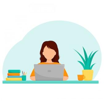 Концепция онлайн исследования, внештатная или удаленная работа, девушка с ноутбуком за столом.