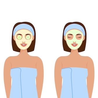 キュウリのマスクである顔にさまざまなコスメティックマスクを持つ女性。検疫。美と健康、メンタルヘルス。個人的な在宅ケア。