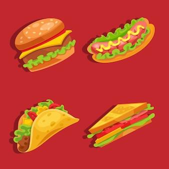 ファーストフードセットハンバーガー、ホットドッグ、サンドイッチ、タコス、赤