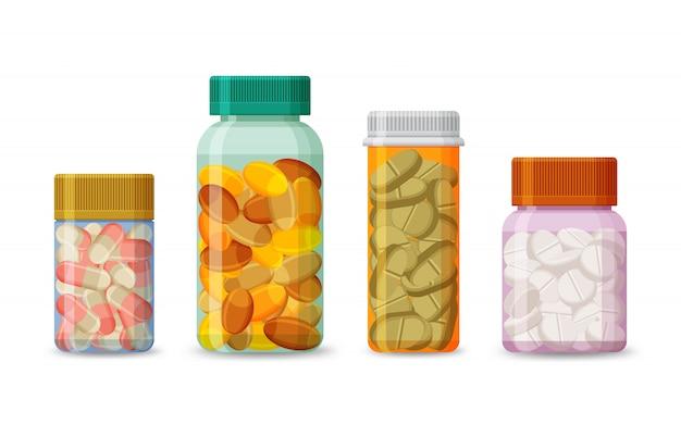 Комплект бутылок с пилюльками на белой предпосылке. реалистичная упаковка лекарственных препаратов с таблетками и капсулами. пластиковые тубы для аптечных препаратов. иллюстрации.