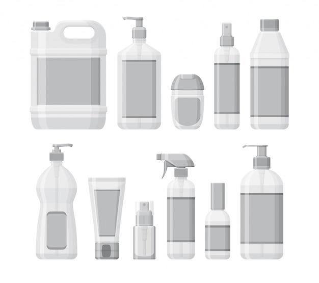 Набор бутылок с антисептиком и дезинфицирующим средством для рук. гель для стирки и спрей. средства индивидуальной защиты во время эпидемии. контейнеры для жидкостей. иллюстрация
