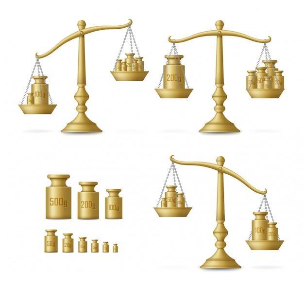 Реалистичные золотые весы с различными весами. иллюстрации.