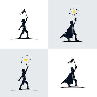 Набор маленький король дизайн иллюстрации шаблон