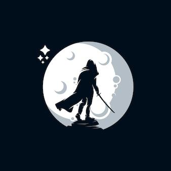 Человек с мечом дизайн логотипа шаблона