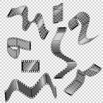 Коллекция пустых кадров кинопленки с различной формой.