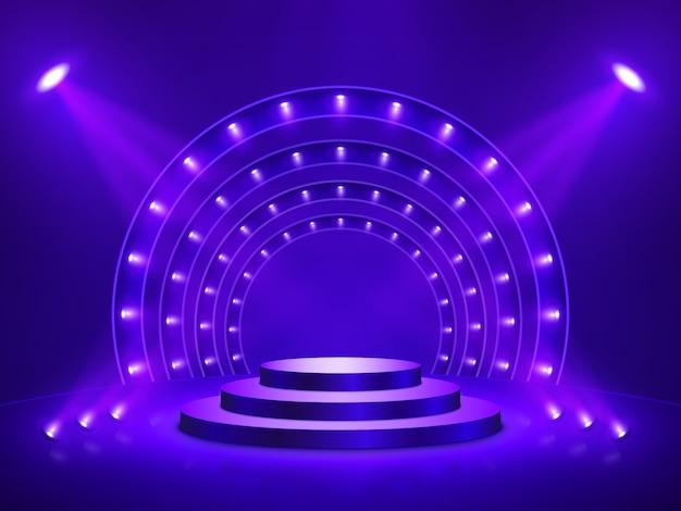 照明付き演壇。ステージ、表彰台、授賞式のシーン。ベクトルイラスト。