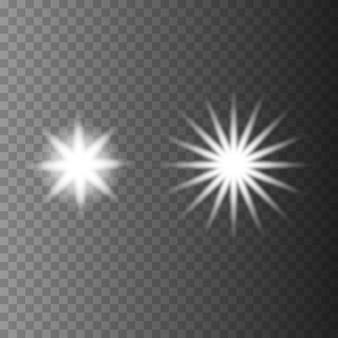透明な背景に光る