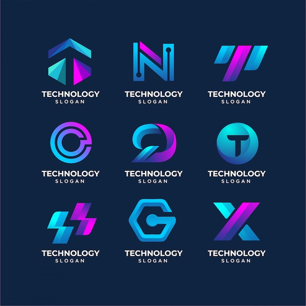 モダンレターテクノロジーのロゴのテンプレート