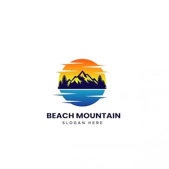 Пляж гора закат логотип