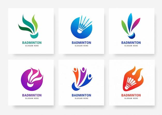 バドミントンのロゴのテンプレートのセット