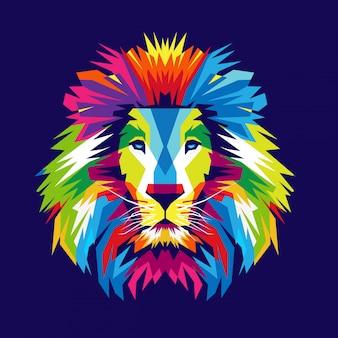 カラフルなライオンヘッドの図