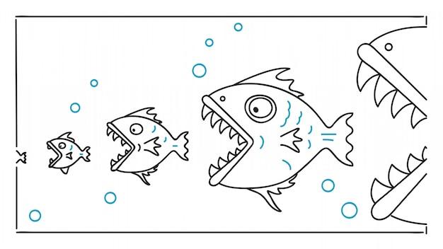 食物連鎖の大きな魚が小さな魚を食べる