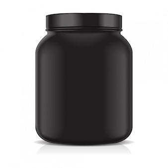 白い背景上に分離されて黒の空のプラスチック瓶。スポーツ栄養、ホエイプロテインまたはゲイナー